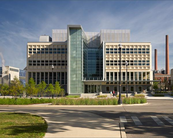 "Cunz Hall renovation HONOR AWARD Location: 1841 Neil Ave., Ohio State University Owner: OSU College of Public Health Design architect: Jonathan Barnes Architecture and Design Photography: Feinknopf Photography Jury comments: ""Resolving many problems with a single move is something architects dream about. With the addition of new entries and a central light-filled spine, this project successfully transforms a gritty, but durable, Brutalist structure into a welcoming and easy to navigate building."""