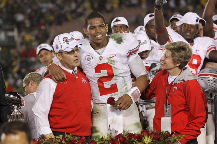 The e-mails ESPN is suing to have released involve correspondences with former Ohio State University football coach Jim Tressel and other top school officials about Ted Sarniak, departed quarterback Terrelle Pryor's mentor.