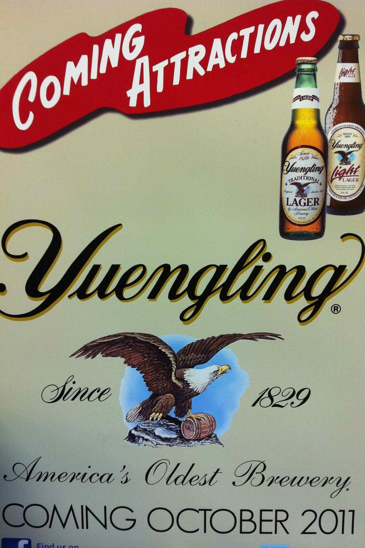 Signs promoting Yuengling's debut have cropped up in Central Ohio liquor stores and retailers.