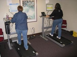 Workers at Aetna Inc.'s New Albany office sign up for three to five 45-minute sessions per week on the treadmill desk.