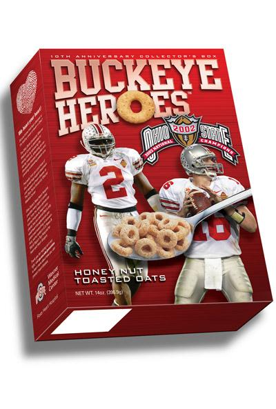 Giant Eagle Inc. is stocking Buckeye HerOes cereal in a commemorative box showcasing two of Ohio State's 2002 National Championship stars — quarterback Craig Krenzel and safety Mike Doss.