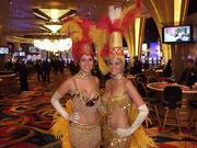 Las Vegas-style showgirls were on hand to celebrate the casino's opening on Columbus' west side Monday.