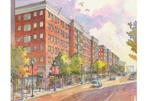 Atlanta developer Carter plans to build three six-story buildings with retail on the ground floor below five floors of apartments. This rendering shows what the buildings would look like from High Street.