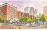 This rendering shows what the mixed-use buildings would look like from the park.