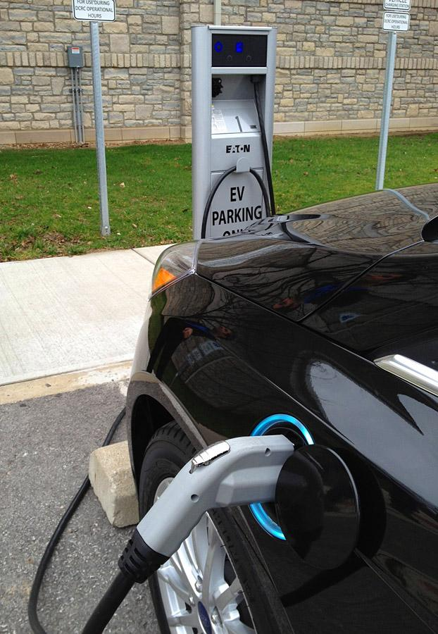 The city of Dublin installed two public-use electric vehicle charging stations at the Dublin Community Recreation Center.