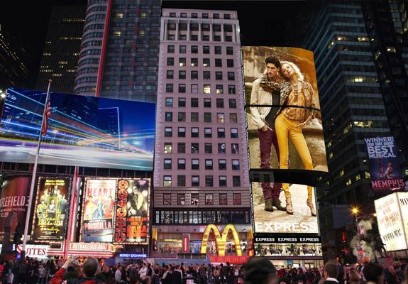 Express is joining the milieu in Times Square with a store at the corner of 46th Street and Broadway that will feature a 125-foot-tall LED sign.Click on the next image for a rendering of its store in San Francisco.