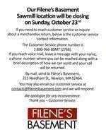 Filene's Basement closing Sawmill Road store