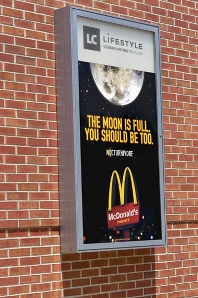 McDonalds is advertising its Breakfast After Midnight menu on the Lifestyle Communities Pavilion.