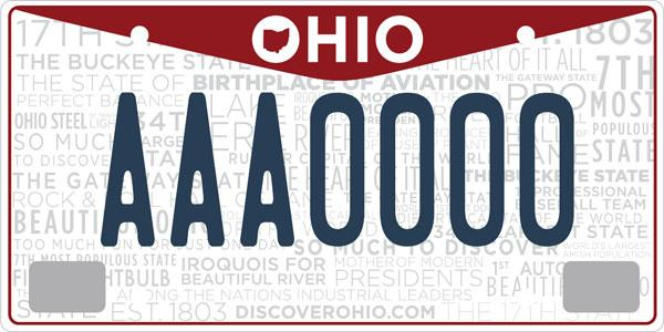"""The state's new """"Ohio Proud"""" license plates went on sale Monday. The red """"V"""" design at the top represents aviation. Background slogans were voted on by residents."""
