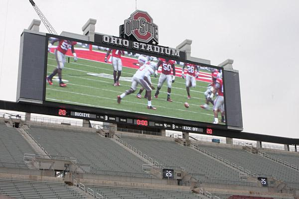 Ohio Stadium's new scoreboard, which measures 42 feet and 125 feet, will be much larger than the 12-year-old unit it replaces.