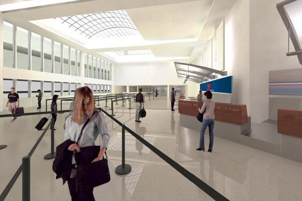 Port Columbus' ticket lobby will get skylights and other design improvements as part of a wide-scale modernization program.   Click on the next image to see Concourse A's planned new look.