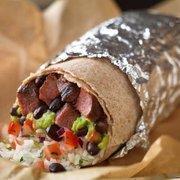 Steak burrito, with guacamole.