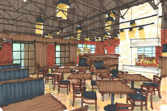 Rusty Bucket's new Dublin location, pictured in a rendering here, will feature a private party room and an expanded beer tap selection.