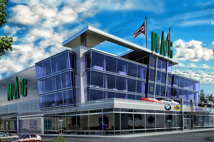 Midwestern Auto Group has agreed to put a dealership at the Sports Pavilion & Automotive Research Center on the former Cooper Stadium site.