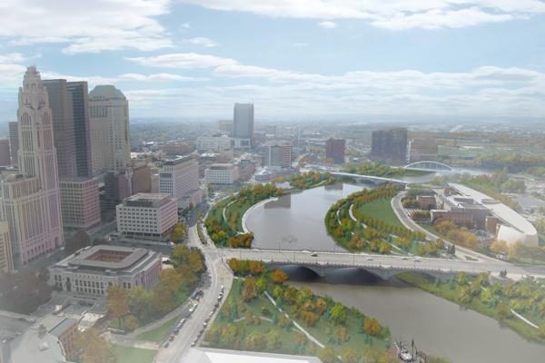 This rendering shows what the Scioto River banks would look like after the Main Street dam is torn down and the river is allowed to narrow with parks built up around its banks.