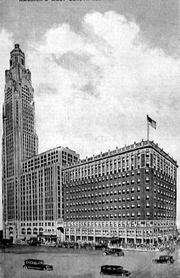 A historic photo of the LeVeque Tower.