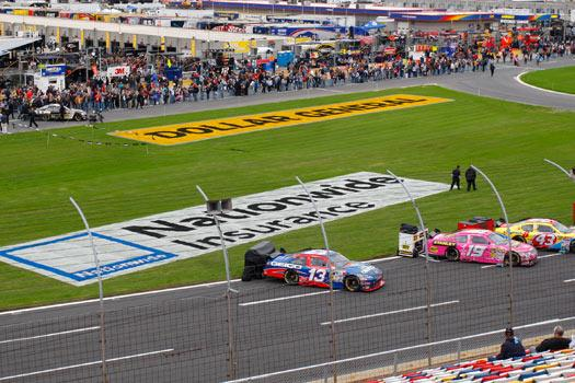 Nationwide's title sponsorship of NASCAR's second-tier racing series includes multiple branding opportunities at each track.
