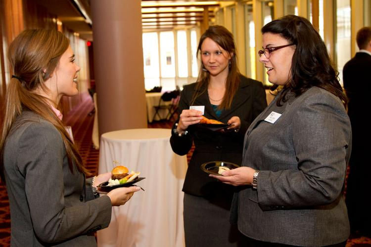 Several Plante Moran employees are active at the recruiting lunches, including Melissa Ward, right, who works in human resources.