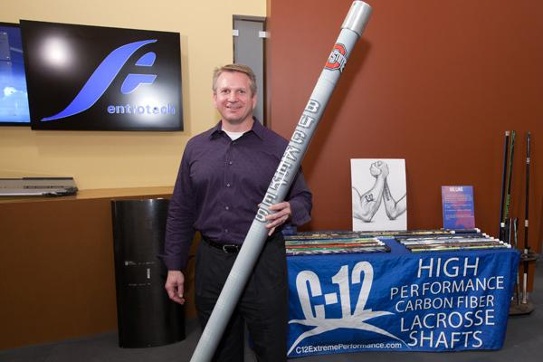 Jerry Prochko's Entrotech Composites makes lacrosse sticks as well as volleyball uprights – the poles framing the nets, above.