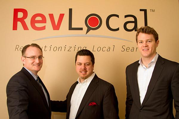 President Marc Hawk, left, Regional Sales Manager R.J. Lowery, middle, and Business Development Manager Patrick Dichter at RevLocal have a team that is growing fast.