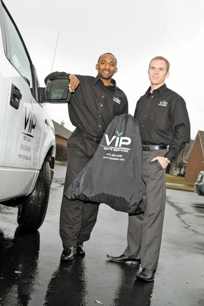 Jesse Lear, right, and Travis Smith formed VIP Waste Services to provide recycling to apartment communities. With resident demand and little competition, the company is growing fast, securing contract after contract.