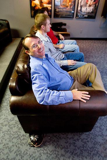 Guitammer CEO Mark Luden, foreground, has extended the ButtKicker product line into lounge chairs and other areas.