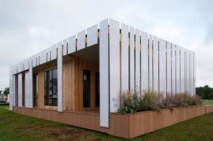 Ohio State took fifth place at this year's Solar Decathlon competition with its entry, called Encore. The exterior features a polycarbonate panel system that's lightweight and easy to assemble.