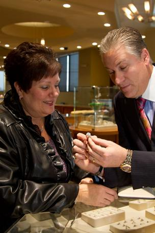 Judy Vass recently bought a $28,000 diamond ring by designer Simon G from Scott  Weisman at Meyers Jewelers.