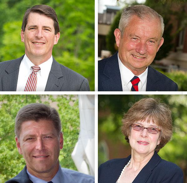 Among the new leaders at Central Ohio colleges are, clockwise from top left, Ohio Wesleyan's Rock Jones, Ohio Dominican's Peter Cimbolic, Kathy Krendl at Otterbein and David Harrison at Columbus State.