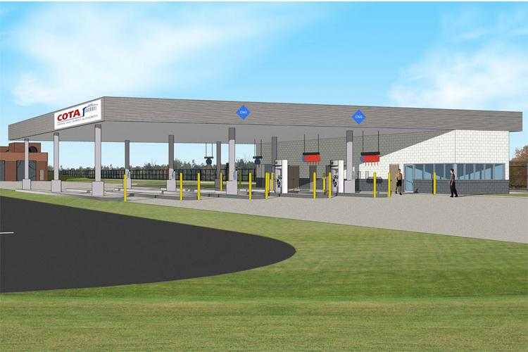 COTA is renovating its McKinley Avenue garage and office facility, including adding CNG pumps, in preparation for new buses.