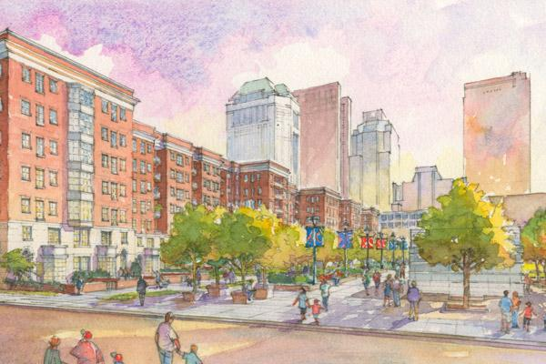 The view looking north along High Street from Columbus Commons will be dramatically different in a couple years.