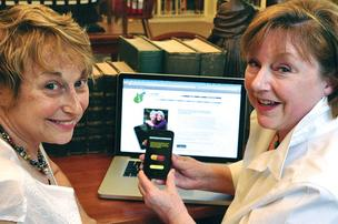 Sally Larrimer, left, and Jane Bardwell developed an app that helps caregivers keep track of loved ones.