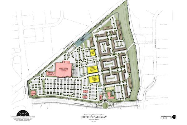 The site plan for the project at Britton Parkway and Cemetery Road.