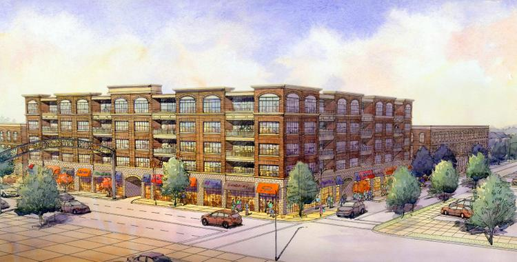 The project at 830 N. High St. in the Short North, as tentatively proposed by Elford Development Ltd. and Wagenbrenner Co., would have five stories with ground-floor retail and apartments above. It is planned for the site of a condominium project that was marketed but not built.