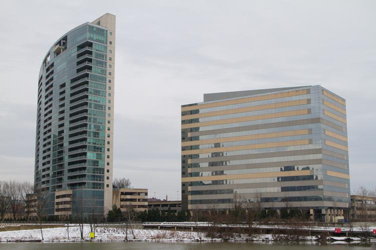 Two Miranova Place, right, is the office complement to the Miranova luxury condominium tower south of downtown.