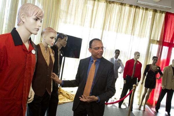 Hollywood Casino Columbus GM Ameet Patel has stocked the upcoming attraction's jobs center with mannequins sporting employee outfits to show applicants the different roles they'll serve as they entertain customers.