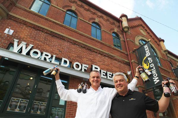 World of Beer franchisees Mark Pottschmidt, left, and Darren Greene are looking  for investors to help open more locations.