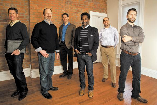 Founders Factory's investors and mentors are pooling their money and expertise to launch new businesses from a house in the Short North. They include, from left, Ray Shealy, Brooke Paul, Todd Whittington, David Hunegnaw, Matt Armstead and Zach McArtor.