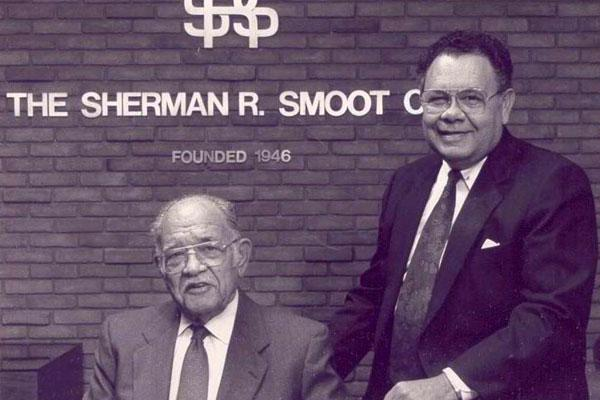 Sherman Smoot, left, started the Smoot Construction Co.  after he gained prominence as a brick mason. Son Lewis Smoot Sr., right, remains CEO of the company. The elder Smoot died in 1999.
