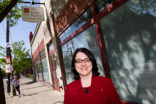 Peggy Anderson, chief operating officer of AIDS Resource Center Ohio, at the site of the center's new clinic. The former Ohio State University Family Practice building on North High Street in the Short North will serve HIV/AIDS patients.