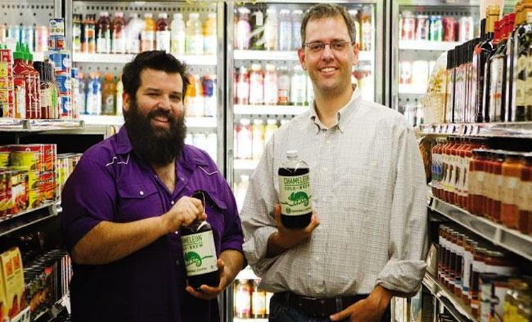 Chameleon Cold Brew LLC co-founders Steve Williams, left, and Chris Campbell display their company's product.