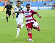FC Dallas' Scott Sealy takes a shot on goal during the first half against the L.A. Galaxy.