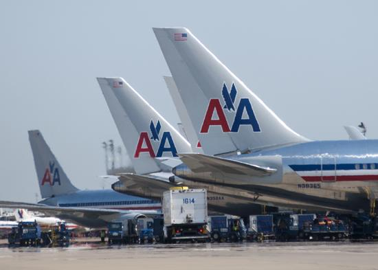 Flight cancellations by American Airlines caused a reduction in traffic at Dallas/Fort Worth International Airport.