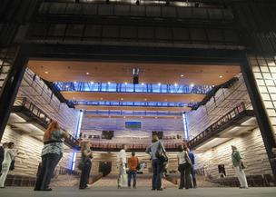 Visitors look at the new Dallas City Performance Hall that will open in September.