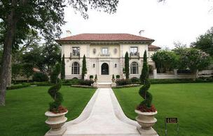A front view of Troy Aikman's Highland Park home.