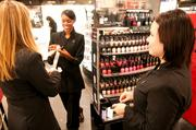 Sephora employees ready the cosmetic area. They are Beauty Manager Lauren Kabel, Beauty Consultant Adriana Lafayette and Beauty Consultant Vanessa Martinez.