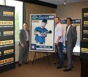 Mark Warsop, CEO of Panini America, Josh Hamilton, and Evan Kaplan of MLBPA