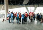 Media members take a tour of the Perot Museum of Nature & Science