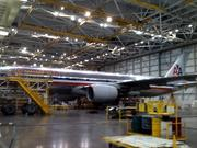 The massive hangar can accommodate seven wide-body aircraft wingtip-to-wingtip.