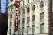 The marquee and the facade of the Majestic Theatre in downtown Dallas.